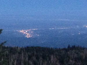 We hiked in the dark to see the sunrise.  It felt longer in the dark than the night before.  This picture is of Pigeon Forge's strip.